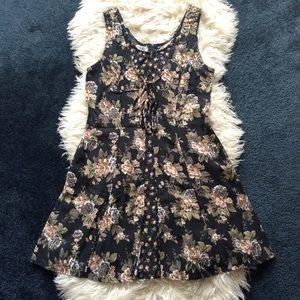 Vintage All That Jazz 80s 90s floral mini dress L